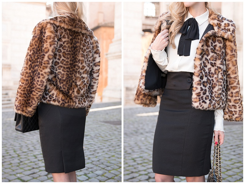 Ann Taylor faux fur leopard coat, leopard cropped coat, Escada high waist black pencil skirt, bow tie blouse with high waist skirt, how to wear leopard coat