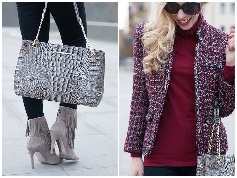 Brahmin Corington tote falcon melbourne, Kristin Cavallari gray suede fringe booties, J Crew tweed jacket over turtleneck