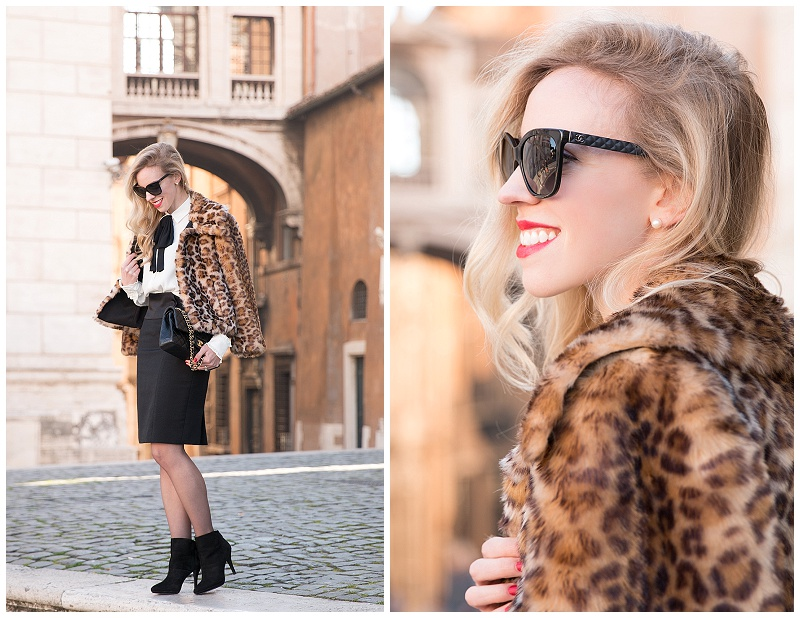 Chanel butterfly sunglasses leather trim, Clinique red red red lipstick, Ann Taylor leopard faux fur coat, Escada high waist pencil skirt with ankle boots, how to wear leopard faux fur coat