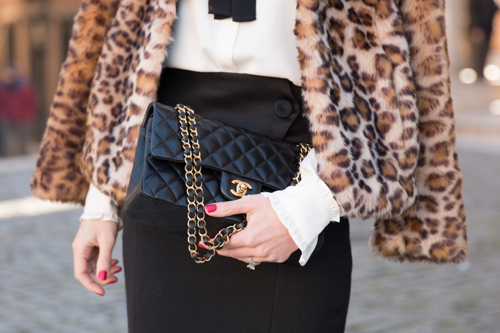 Chanel medium classic flap bag black lambskin with gold hardware, leopard faux fur coat, classic look leopard coat