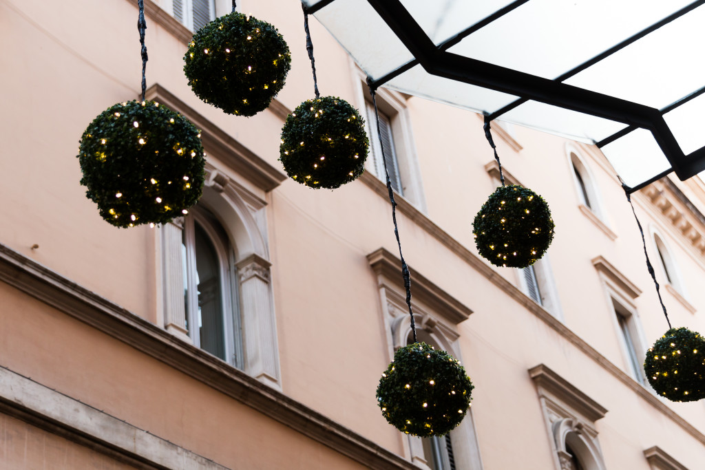 Christmas lights in Rome Italy, travel blogger