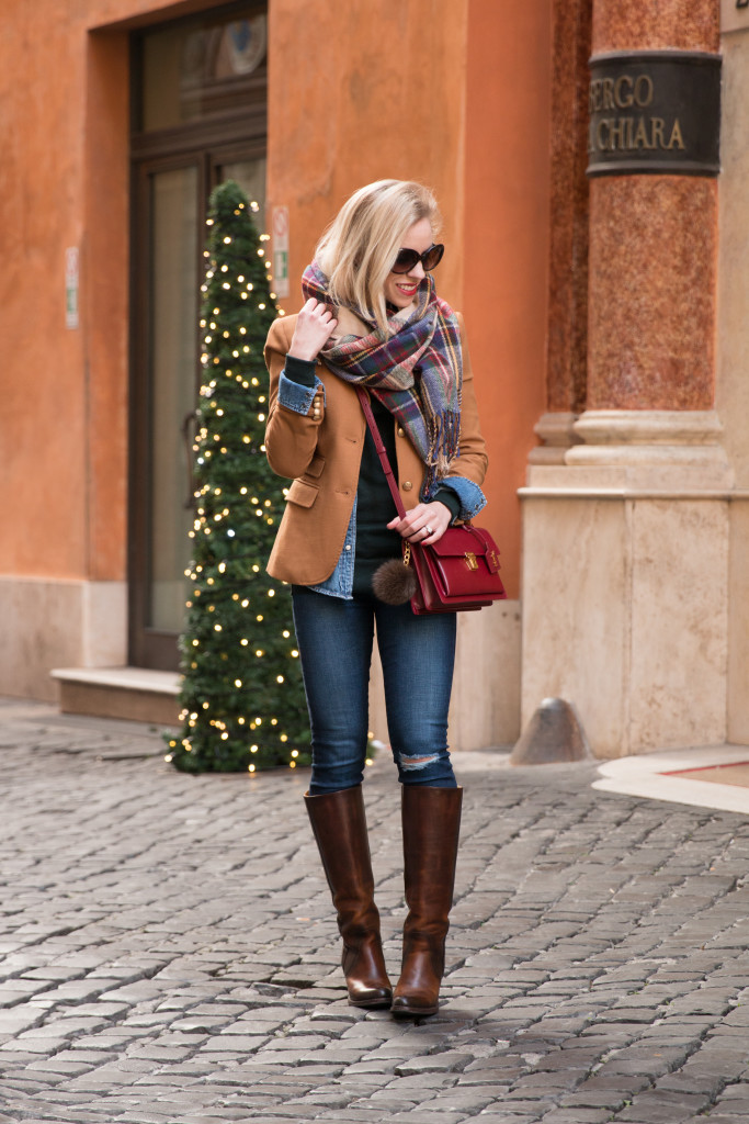 J Crew camel blazer with plaid scarf, red green blue plaid blanket scarf holiday outfit, camel blazer with plaid scarf and riding boots, Saint Laurent red handbag with plaid scarf