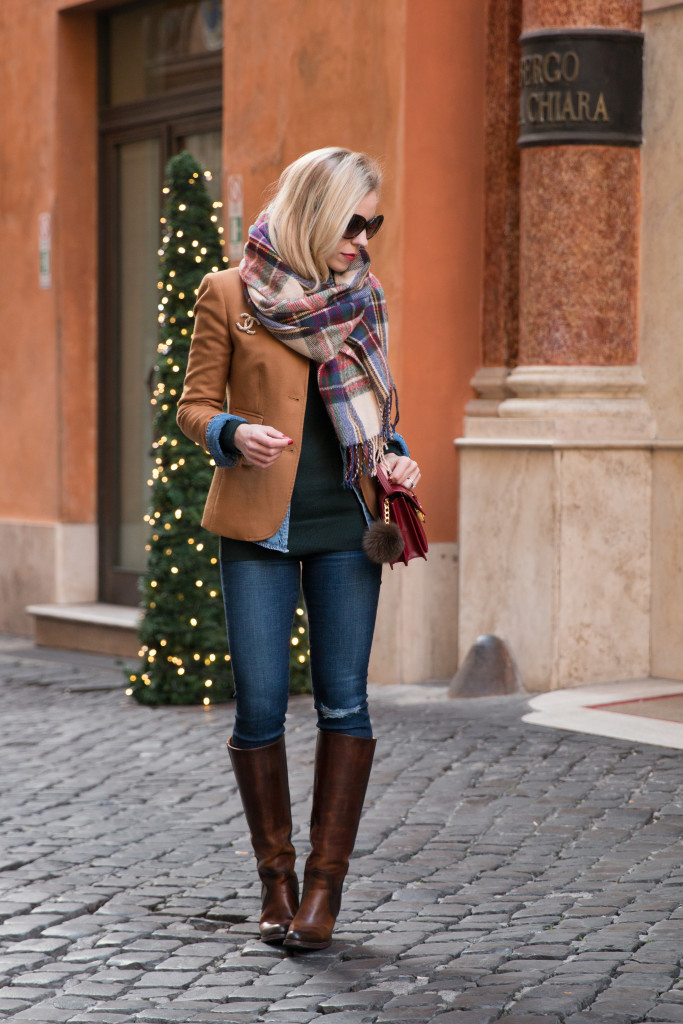 J. Crew camel blazer with plaid scarf holiday outfit, classic camel blazer with jeans and riding boots, holiday outfit with plaid scarf, Frye Mustang riding boots