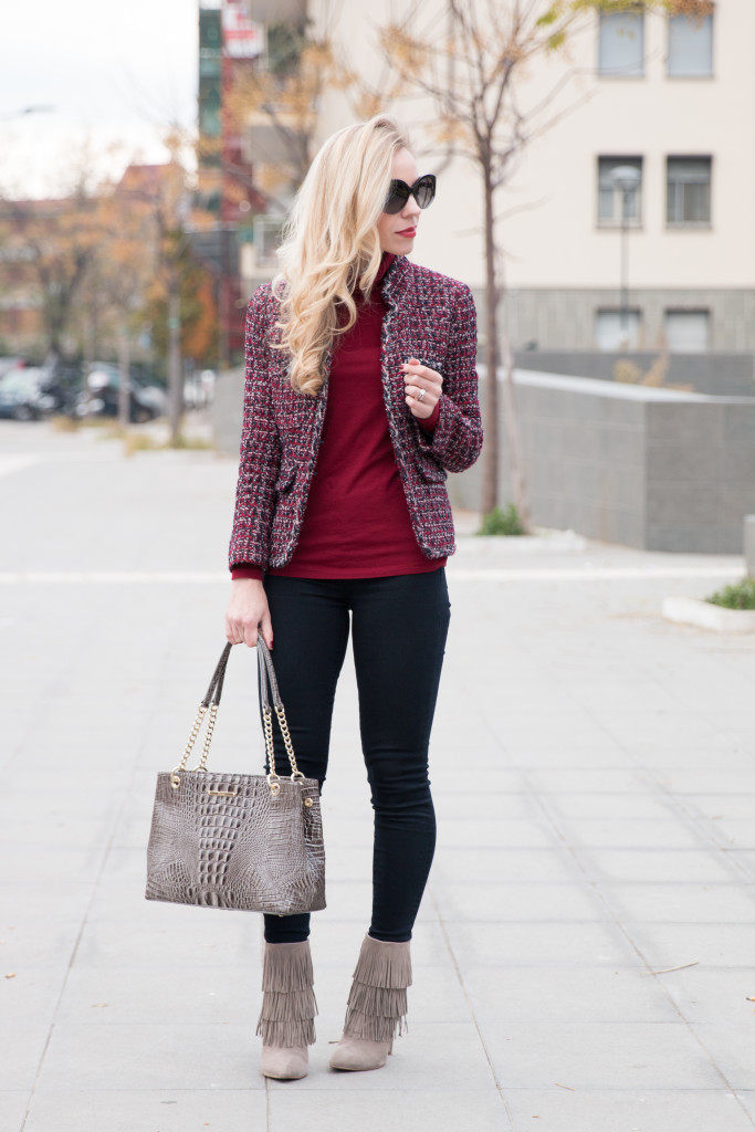 J. Crew tweed jacket, tweed jacket Chanel inspired outfit, how to wear a tweed jacket and look modern, gray fringe booties, Brahmin Corington tote