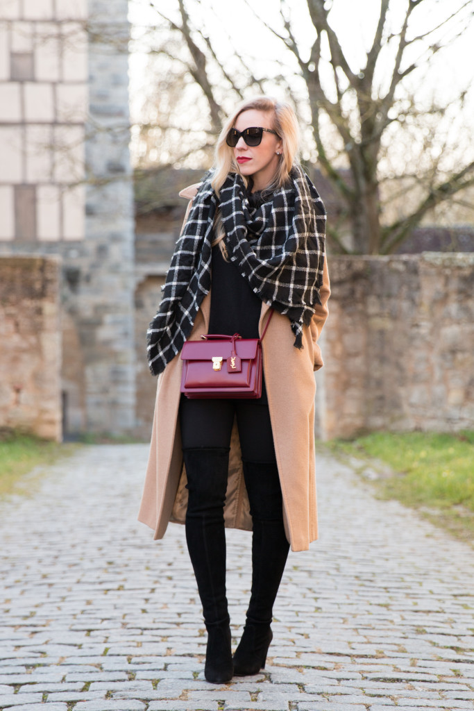 Max Mara Manuela camel coat, black and white plaid blanket scarf with camel coat, camel coat with red handbag outfit, camel coat and thigh high boots