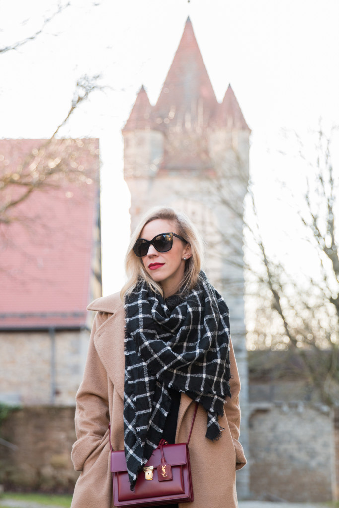Max Mara camel coat, black and white plaid blanket scarf, Saint Laurent High School satchel, Rothenburg Germany, fashion blogger