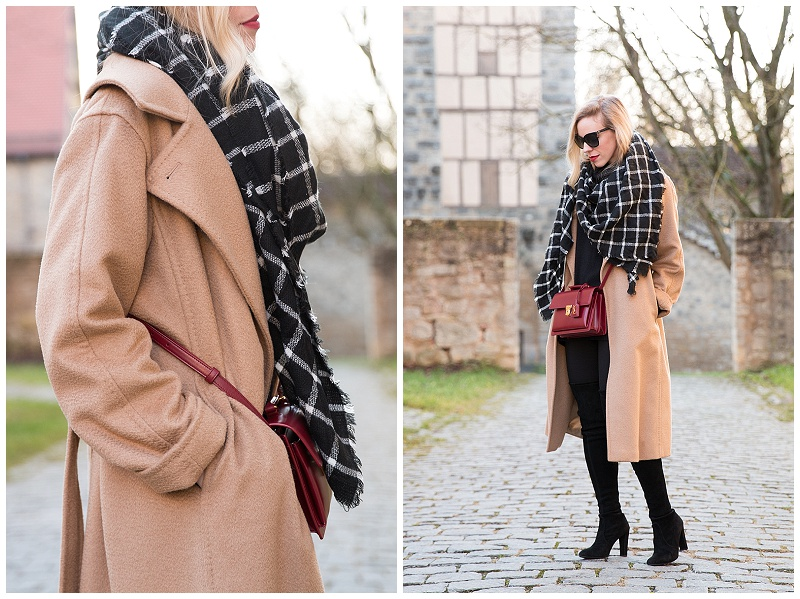 Max Mara camel wrap coat, black and white plaid scarf, classic camel coat outfit, Max Mara Manuela camel coat outfit