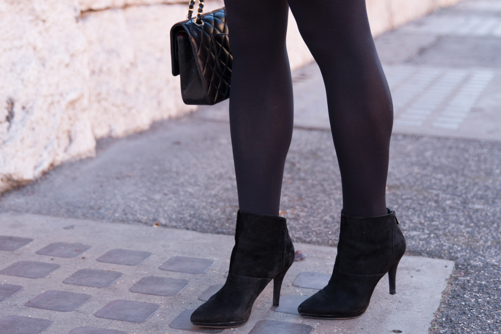 Tahari black suede Isadora booties, black suede booties with tights and mini skirt winter outfit