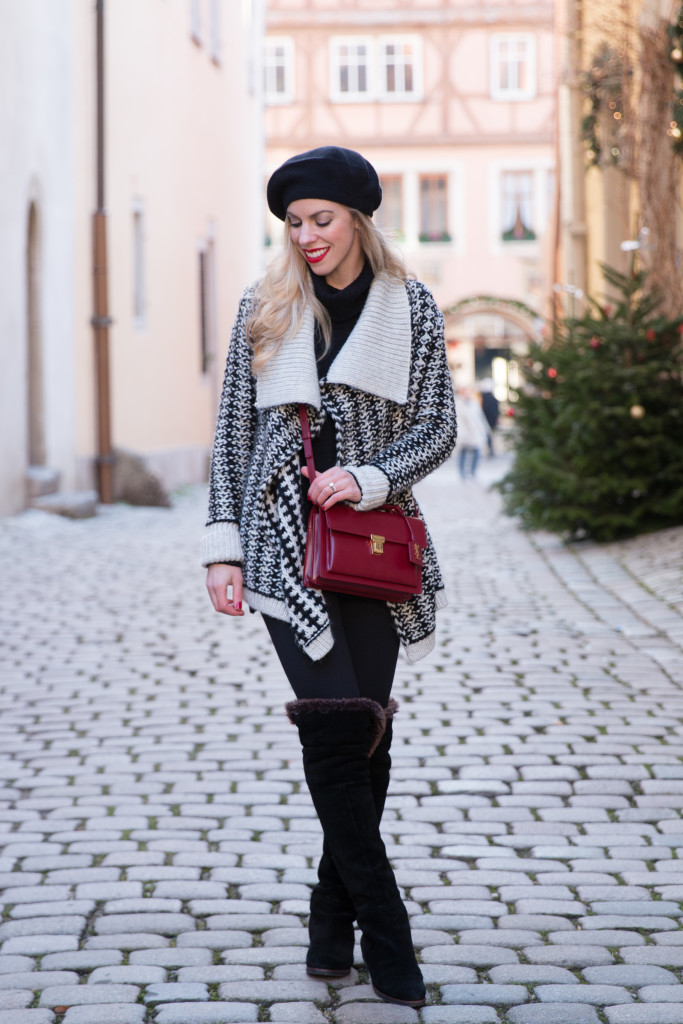 black and white Nordic print cardigan sweater, Saint Laurent High School satchel oxblood, Sam Edelman fur lined over the knee boots, black beret, holiday outfit black white and red