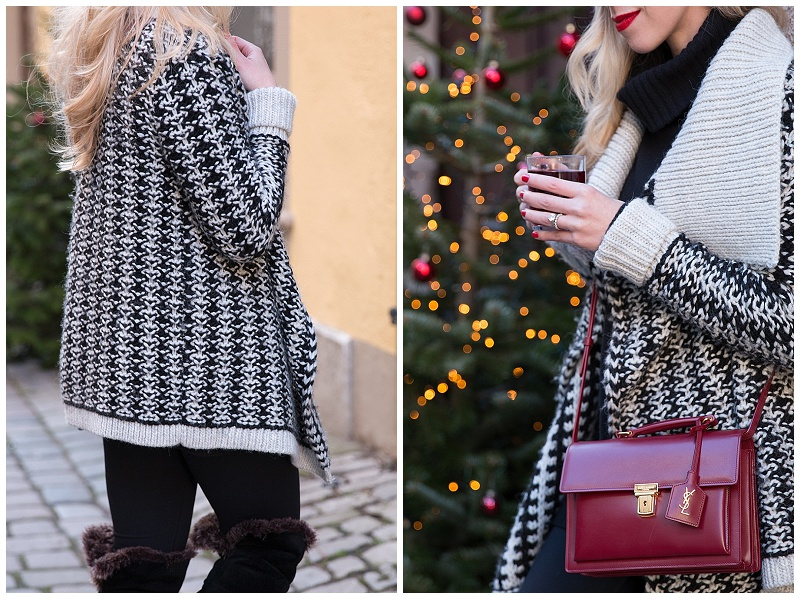 black and white nordic print sweater, Saint Laurent high school satchel oxblood, black white and red holiday outfit