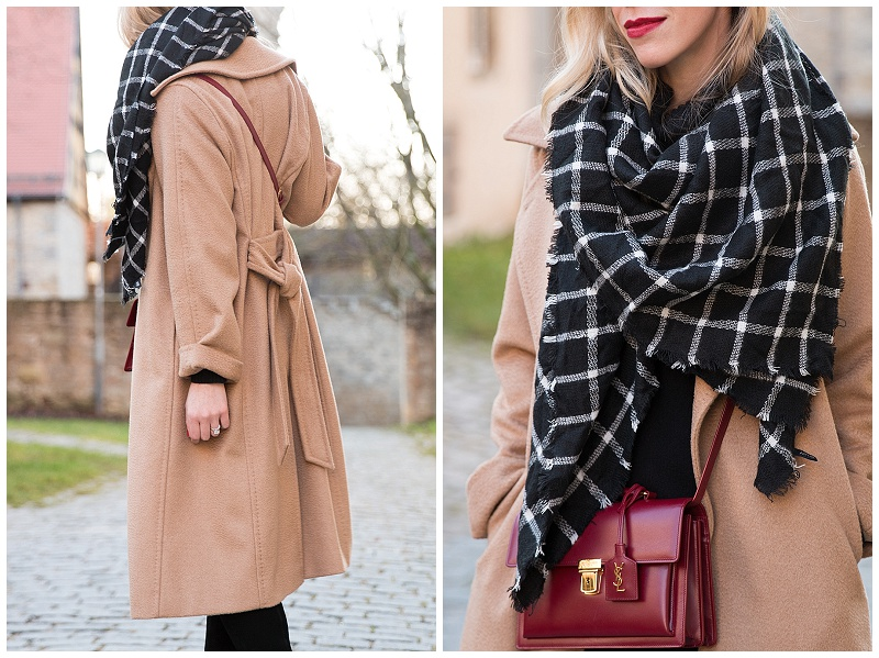 black and white plaid blanket scarf with camel coat, classic camel coat, Max Mara camelhair wrap coat
