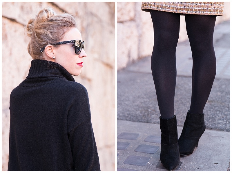 black suede booties with tights and mini skirt, oversized turtleneck, Ann Taylor cashmere turtleneck tunic, new years eve outfit with sparkly skirt