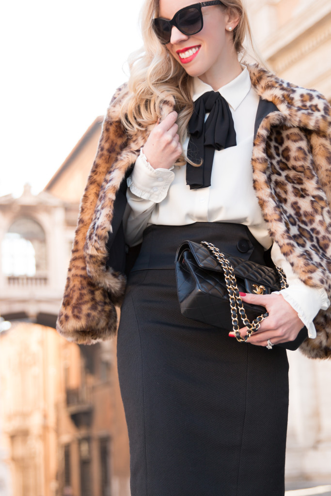 bow neck blouse with high waist skirt, ESCADA black high waist pencil skirt, leopard faux fur cropped jacket, how to wear leopard fur coat