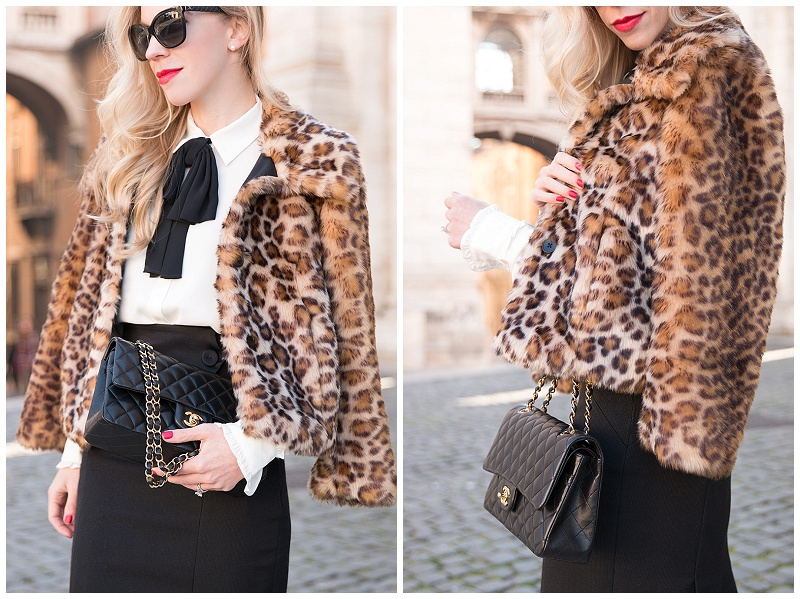 cream blouse with black bow, bow tie neck blouse with pencil skirt, Escada high waist pencil skirt, Ann Taylor faux fur cropped leopard coat, Chanel medium classic flap bag black lambskin gold hardware