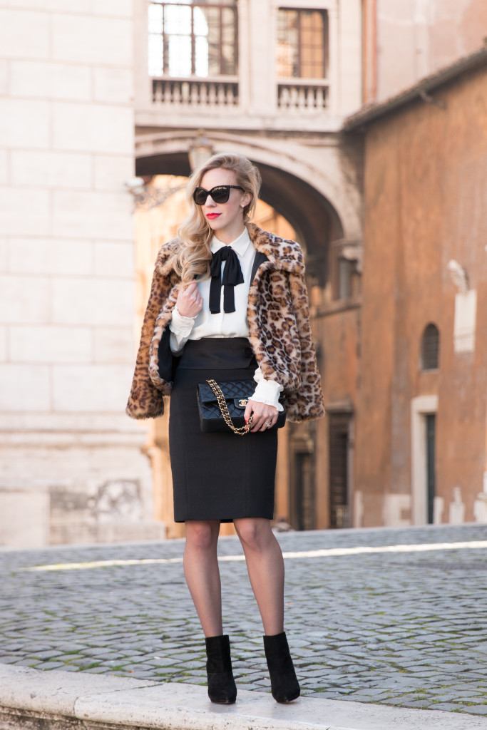 leopard faux fur cropped coat, Escada high waist pencil skirt, bow tie neck blouse with pencil skirt and leopard coat, Chanel medium classic flap bag black with gold hardware