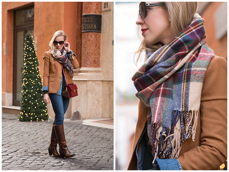 red green blue plaid blanket scarf, J Crew camel blazer, holiday outfit with plaid scarf and camel blazer, Frye Mustang riding boots, Christmas outfit with plaid scarf