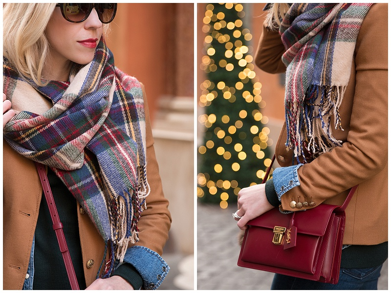 red green blue plaid blanket scarf, Saint Laurent High School handbag oxblood red, camel blazer with plaid scarf holiday outfit Christmas