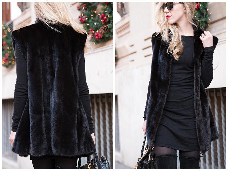 Vintage Black Mink Fur Vest Long Black Vest With Sweater Mini Dress
