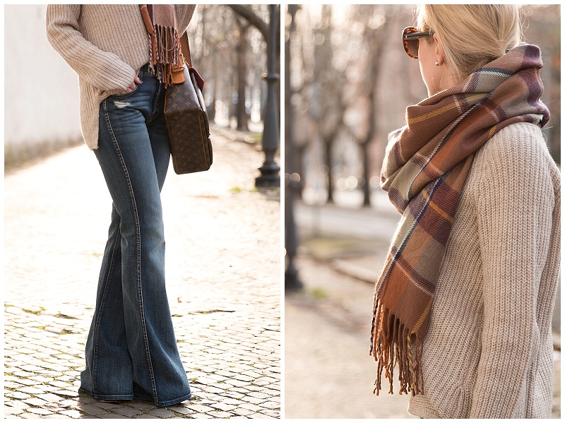 7 for all mankind high waist vintage bootcut flare jeans, flare jeans with oversized sweater and plaid scarf outfit