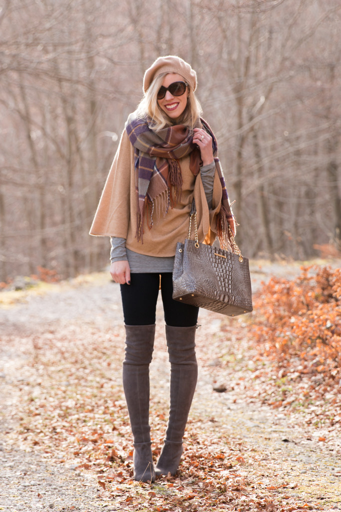 Ann Taylor camel cashmere cape, camel cape with plaid scarf outfit, TopShop plaid blanket scarf, Stuart Weitzman Highland gray suede over the knee boots