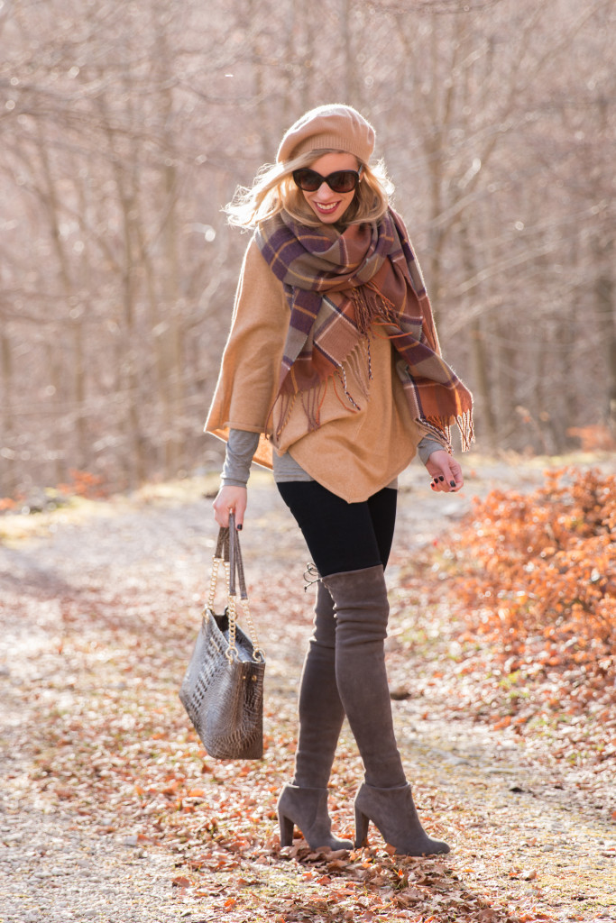 Ann Taylor cashmere camel cape, TopShop plaid blanket scarf, Stuart Weitzman gray Highland boots, camel cape with plaid scarf