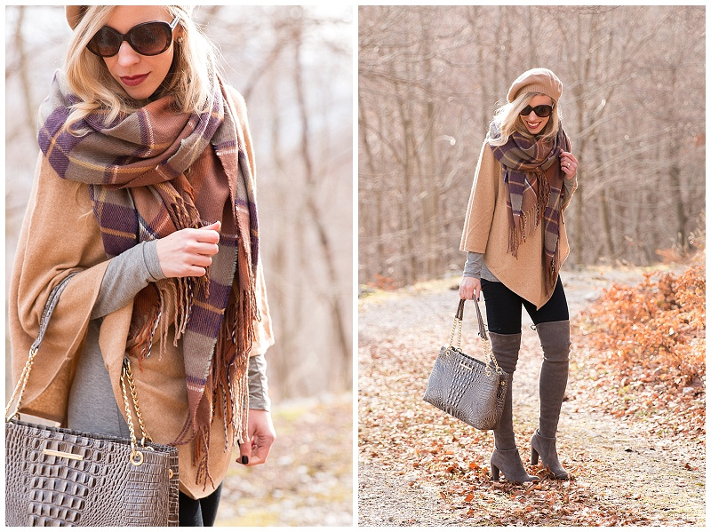Brahmin Corington tote falcon melbourne, TopShop brown plaid blanket scarf, Ann Taylor cashmere cape, camel cape with blanket scarf and beret outfit