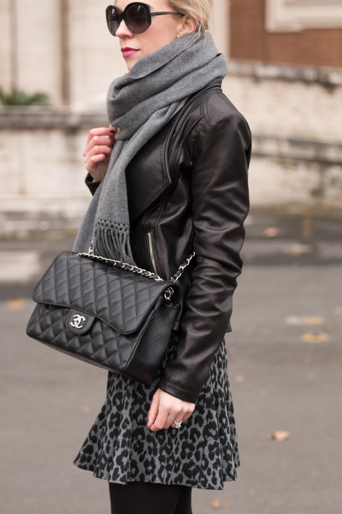 Chanel Jumbo Classic Flap Bag Black Caviar With Silver Hardware Leather Moto Jacket Oversized Gray Scarf And Skirt Winter Oufit