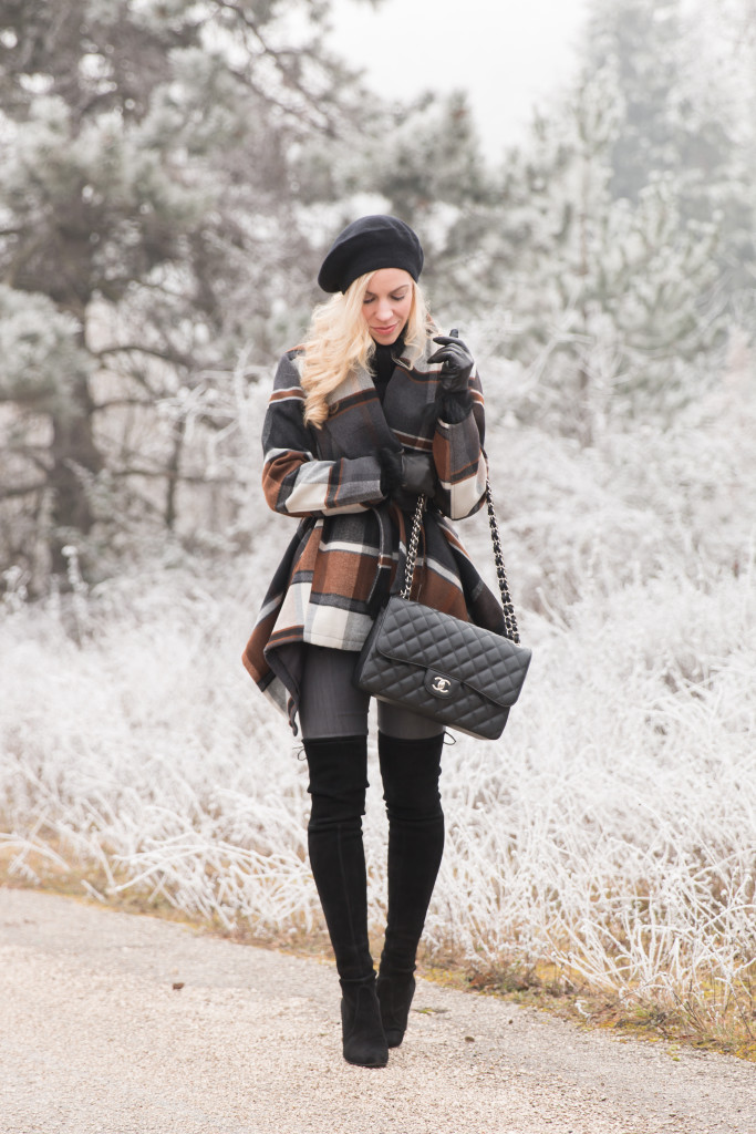 ChicWish black and brown plaid coat, Chanel Jumbo black caviar with silver hardware, Stuart Weitzman black highland over the knee boots winter outfit, how to wear a beret
