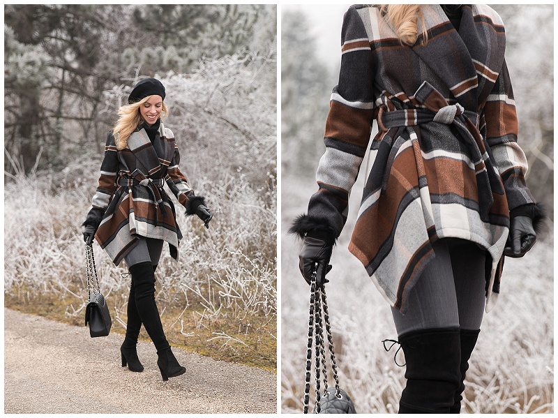 ChicWish brown black plaid wrap coat, how to wear plaid coat for winter, Stuart Weitzman black suede highland boots, AG jeans gray denim