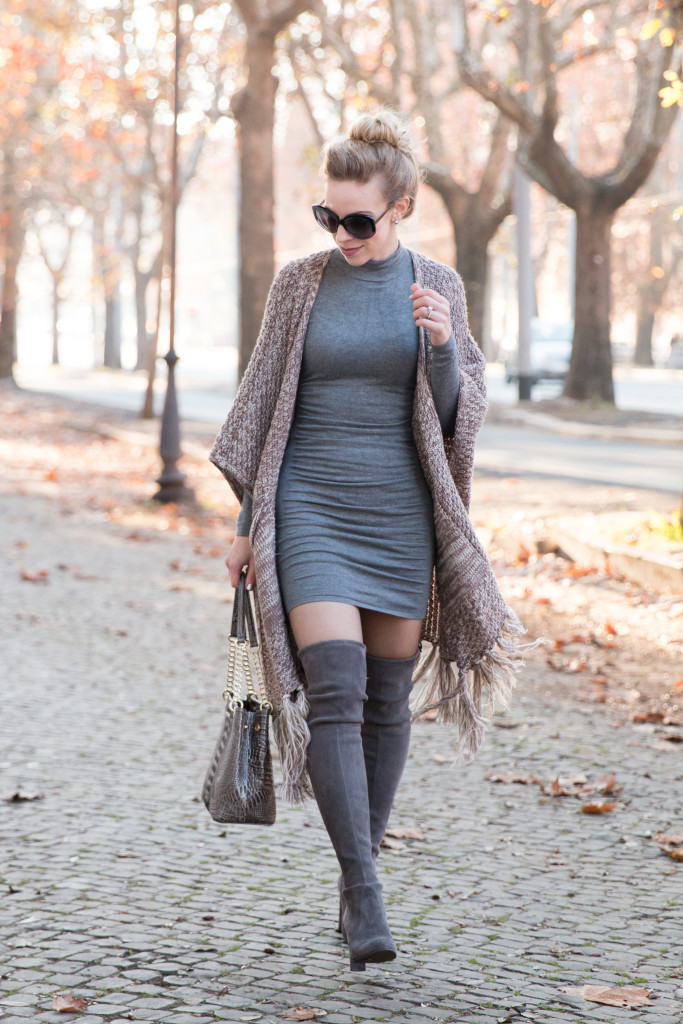 Express gray ruched sweater dress, poncho with sweater dress outfit, mini dress with thigh high boots, Stuart Weitzman gray Highland over the knee boots