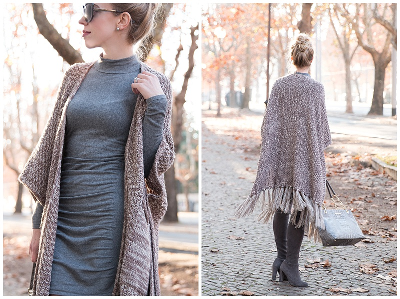 Express ruched sweater dress, gray sweater dress with poncho and over the knee boots, how to wear a poncho with a dress