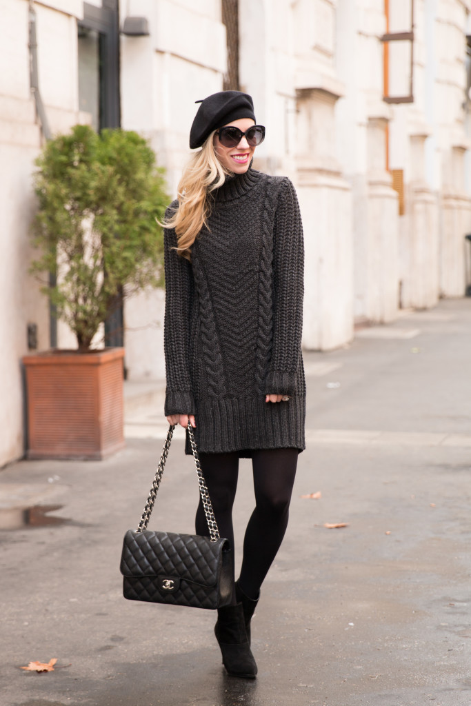 sweater dress with tights and booties