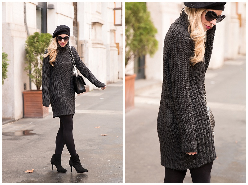 Dark Palette Sweater Dress Cashmere Beret Amp Suede