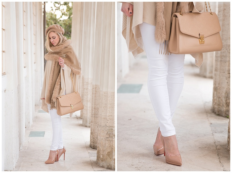 HOSS Intropia beige poncho with white jeans, white jeans and nude Christian Louboutin pumps, white jeans and camel scarf winter outfit, Louis Vuitton beige bag