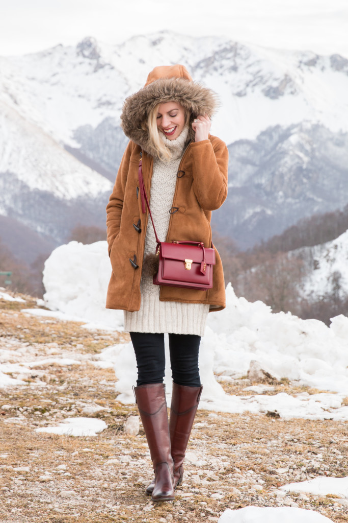 Lands End fur hood parka, Frye Melissa Tab Tall redwood riding boots, fur parka with cable knit sweater and boots winter outfit snow