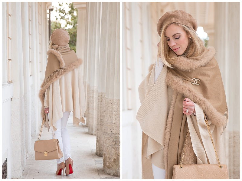 Max Mara camel cashmere fox fur trim wrap, camel beret, beige poncho with white jeans, winter white neutrals outfit, how to wear white jeans in winter
