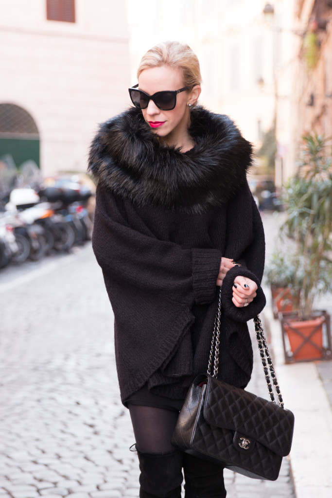 Michael Kors faux fur collar poncho, black faux fur cape, Chanel Jumbo classic flap bag black caviar leather with silver hardware