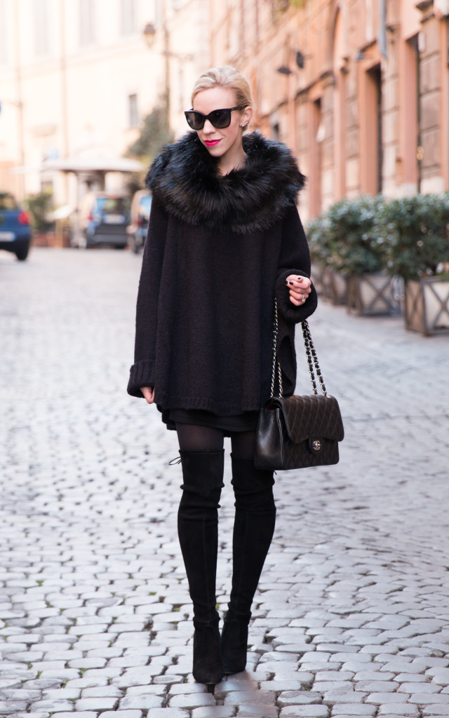 Michael Kors fur cape poncho, black faux fur cape, cape with thigh high boots, Stuart Weitzman black Highland suede boots with mini dress, how to wear over the knee boots with dress