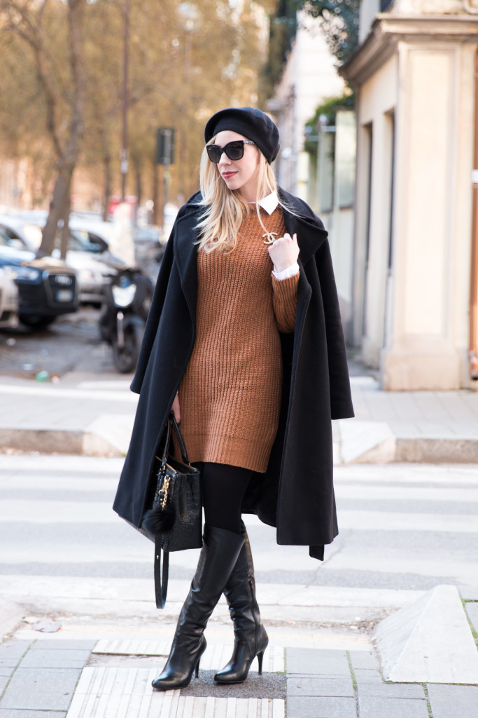 { New Flame: Wool coat, Sweater Dress & Knee high boots }