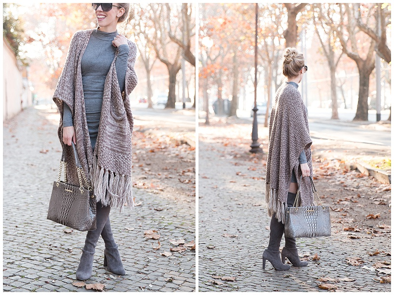 SheIn fringe poncho, Express ruched sweater dress, gray sweater dress outfit with over the knee boots, Stuart Weitzman Highland gray thigh high boots with mini dress