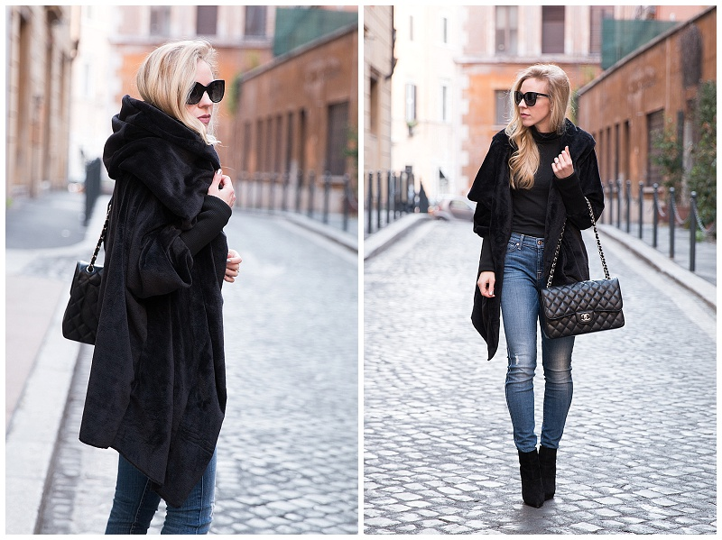 8f833fb3299ec7 SheIn hooded oversize fleece coat, black faux fur hooded coat with high  waist jeans, Chanel Jumbo classic flap bag black caviar with silver hardware