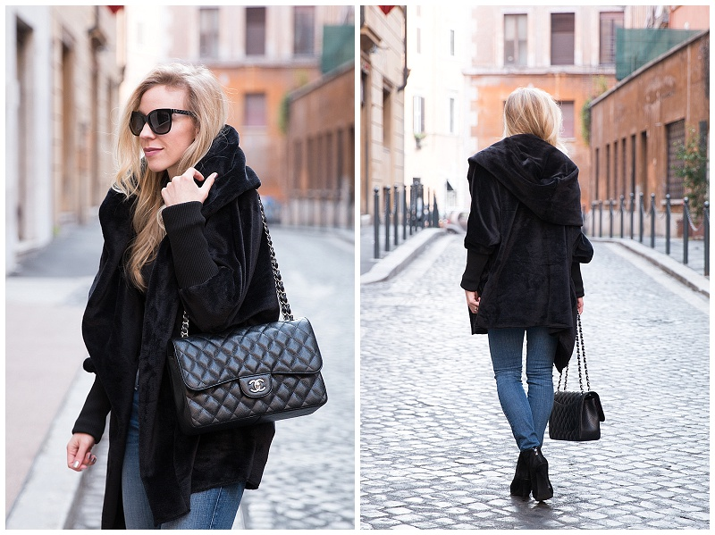Shein Plush Black Hooded Coat Chanel Jumbo Flap Bag Caviar Silver Hardware Oversized Outfit With Skinny Jeans And Booties