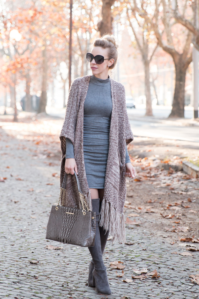 SheIn tassel fringe poncho, Express ruched sweater dress, Stuart Weitzman gray suede Highland boots, Brahmin Corington tote, all gray winter outfit