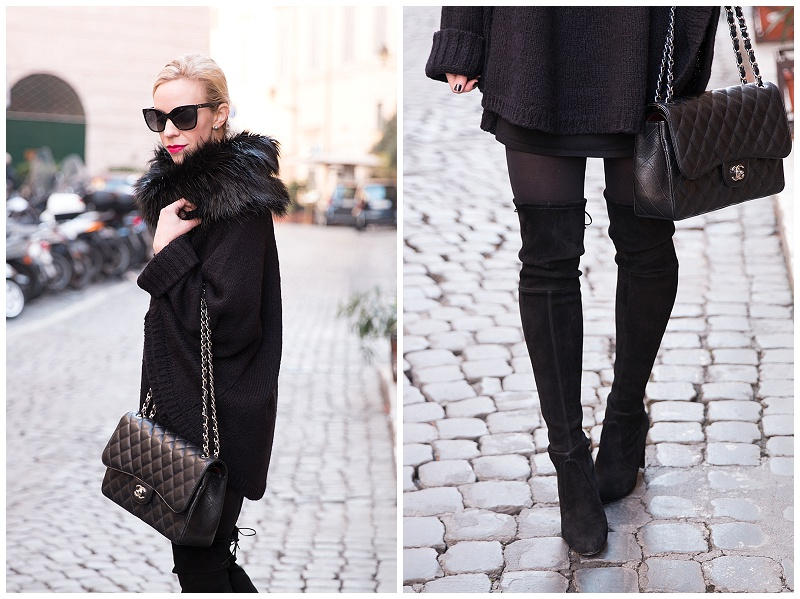 Stuart Weitzman black suede Highland over the knee boots, Michael Kors faux fur collar poncho, Chanel Jumbo classic flap bag, all black winter outfit