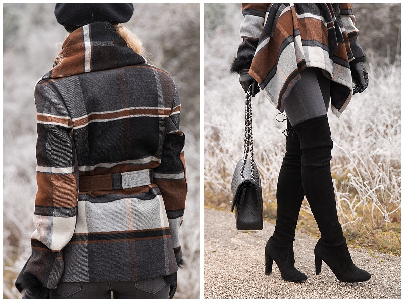 Stuart Weitzman black suede Highland over the knee boots with gray jeans, ChicWish brown black plaid wrap coat outfit