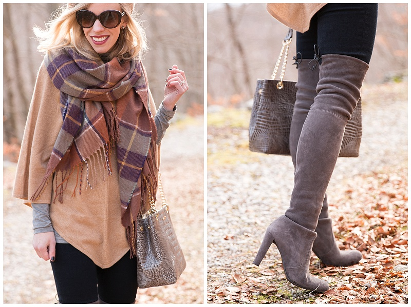 Stuart Weitzman gray suede Highland over the knee boots, TopShop brown plaid blanket scarf with camel cape outfit