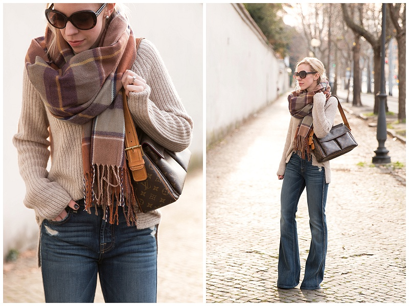 TopShop brown neutral plaid scarf, oversized sweater with flare jeans outfit, Louis Vuitton vintage monogram bag