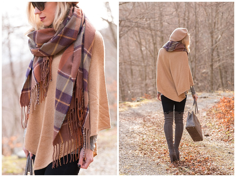 TopShop brown plaid blanket scarf, Ann Taylor cashmere camel cape, camel cape with plaid scarf and over the knee boots outfit