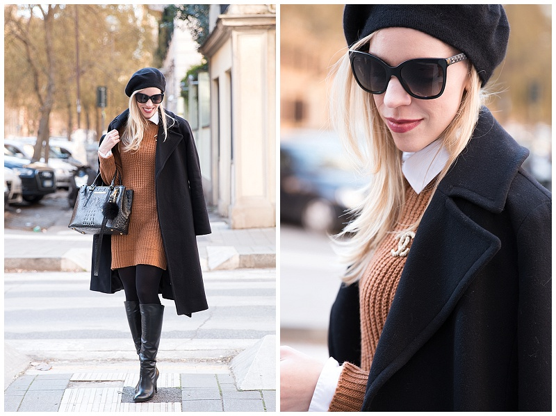 New Flame Wool Coat Sweater Dress Amp Knee High Boots