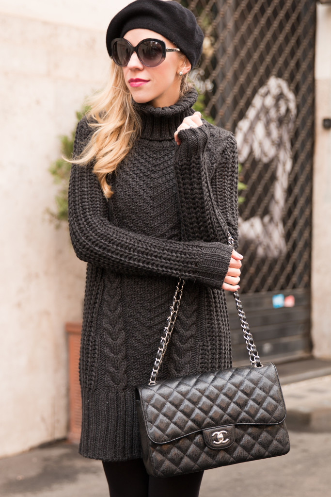 11bac7dae1f5 black cashmere beret winter outfit, gray turtleneck sweater dress with  tights and booties, how to wear a beret, Chanel jumbo flap bag black caviar  silver ...